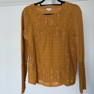 Mustard blouse from Anthropologie